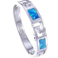 925 Sterling Silver Simple Ring Band with Created Blue Opal and Greek Key Design (7)