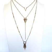 Safari Bound Layered Necklace In Brass Gold