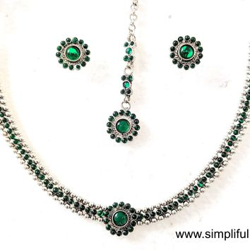 German Silver Simple Choker Necklace and Earring set with Maang Tikka