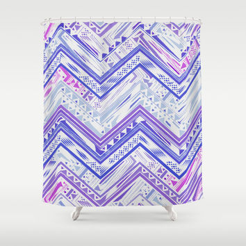PURPLE ETHNIC CHEVRON Shower Curtain by Nika | Society6