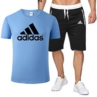 Adidas Trending Men Women Casual Print T-Shirt Top Shorts Sport Set Two-Piece Blue