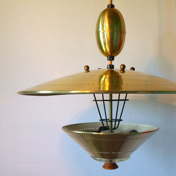 UFO PENDANT LIGHTING Vintage Atomic Flying Saucer Pull Down Ceiling Light Fixture Retro 50s 60s Mid Century Modern Space Age Googie Style