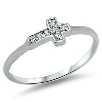 .925 Sterling Silver Tiny Sideways Cross CZ Ring Kids and Ladies Size 2-10 Midi