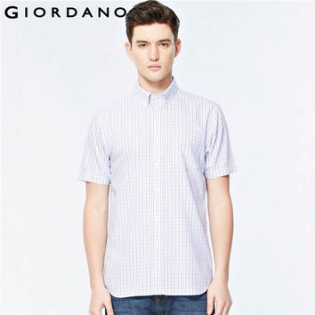Men Shirt Oxford Short Sleeved Blouses for Man Button Down Collar Textured Shirts Social