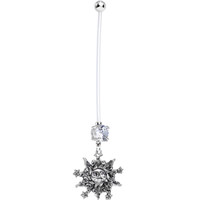 Handcrafted Clear CZ Baby Stars and Mother Sun Pregnancy Belly Ring | Body Candy Body Jewelry