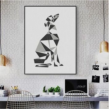 NEW Abstract Dog Geometric Greyhound Canvas Large Poster Prints Wall Pictures Nordic Living Room Home Decor Paintings No Frame