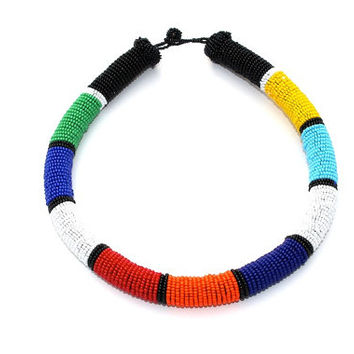Multicolored Beaded Wrapped Rope Necklace, Multicolored Statement Necklace, Zulu Inspired Bead Necklace, African Inspired Bead Necklace