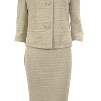 Women's Metallic Fabric Frayed Trim Business Suit Skirt Set