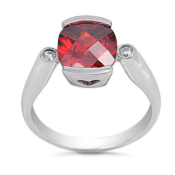 Sterling Silver CZ Simulated Garnet Solitaire Ring 11MM