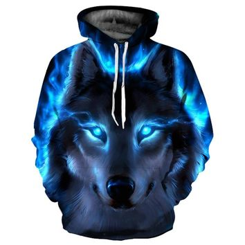 Mr.1991INC Galaxy Sweatshirts Men/Women 3d Hoodies With Hat Print Blue Fire Wolf Hooded Hoodies Thin Tracksuits Tops YXQL465
