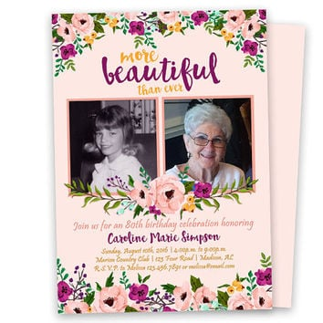 Woman Birthday Invitations - Pink Purple Floral Invitation - 90th 80th 70th 60th 50th - Then and Now Photo Invitation - Beautiful Lady