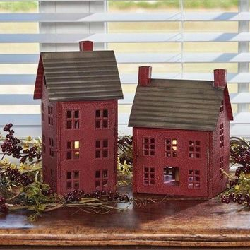 Distressed Small Red Metal Saltbox House Lamp Farmhouse Decor Park Design