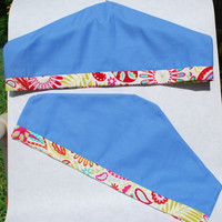 Garment Dust Cover/Shoulder Dust Cover Blue Chambray Set of Two Red/Green/Turquoise Fabric Trim