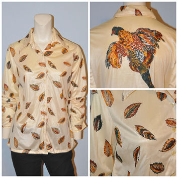 Vintage 1970's Feather Patterned Hen Bird Button Down Blouse Polyester Retro Shirt Women's Long Sleeve Top Shirt Weird Retro John Meyer