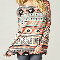 Multi Color Aztec Print Dolman Long Sleeve Top Bohemian inspiried Loose Fit Top Wear Gifts Under 30