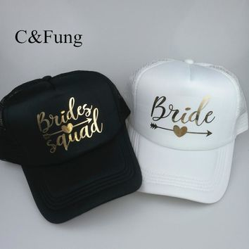 Trendy Winter Jacket C&Fung personalized BRIDE SQUAD trucker Hat arrow design gold print bridal party hats Baseball Trucker Snapback Beach Cap Hat AT_92_12