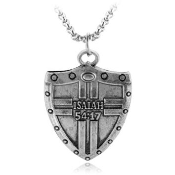 Isaiah 54:17 Shield Supernatural Alloy Pendent Necklace Scripture Religious Fitness Shields Vintage Couple Cool Gift For Men