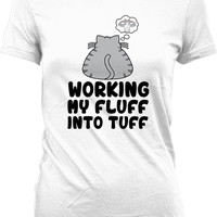Funny Workout Shirt Working My Fluff Into Tuff Funny Cat Gifts For Her Fitness Clothing Gym Clothes Workout Outfits Ladies Tee WT-220