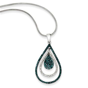 1/2 Ctw Blue & White Diamond Triple Teardrop Sterling Silver Necklace