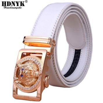2016 Hot New Brand Designer Belts Men High Quality Automatic Belt Men Leather Girdle Casual Waist Strap With Wolf Heah Buckle