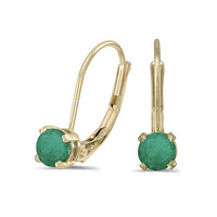 14K Yellow Gold Round Emerald Lever-back Earrings (4mm 1/2ct tgw)