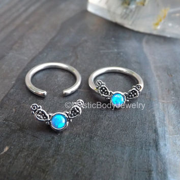 "Blue Opal Captive Ring 14g 1/2"" Nipple Septum Daith Earring Piercing Opals Conch Earrings Body Jewelry Helix Rings Cartilage Piercings 12mm"
