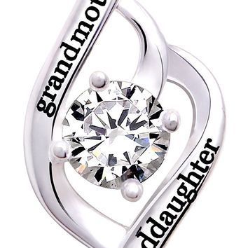 """Jewelry Sterling Silver """"grandmother granddaughter"""" Love Cubic Zirconia Pendant Necklace"""