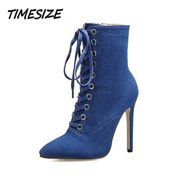 TIMESIZE Autumn Winter Women Ankle Short Boots Shoes Woman Fashion Pointed Toe Lace Up Side Zipper Denim Gladiator Boots