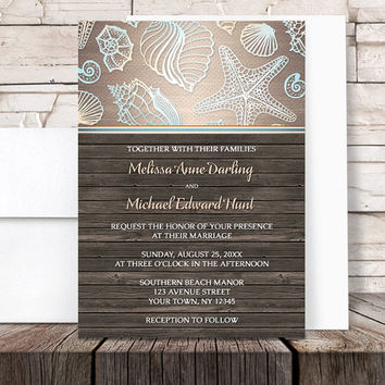 Beach Wedding Invitations - Rustic Wood Beach Seashell - Rustic Beach Invitations and RSVP - Printed