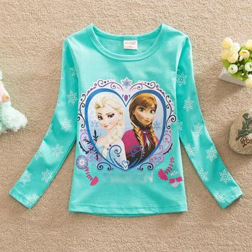2017 3-7Y Kids Girls T-shirt Summer Cartoon Elsa And Anna Baby Gilr Clothes T shirt Long Sleeve For Children Girl Tops