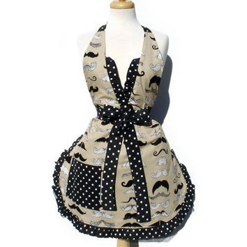 Mustache Deluxe Full Apron | VintageGaleria - Accessories on ArtFire