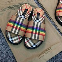 Burberry rainbow high quality slippers shoes