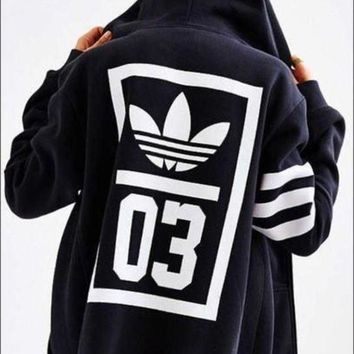DCCKH3F adidas Originals Navy Trefoil Zip-Up Hooded Sweatshirt