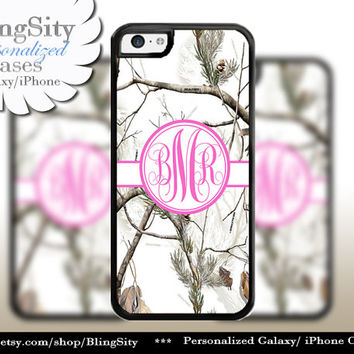 Snow Camo Hot Pink Monogram iPhone 5C 6 Plus Case iPhone 5s 4 case Ipod White Realtree Personalized Country Inspired Girl