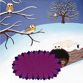"""Winter Landscape Print, 12"""" square - snowy winter scene with cartoon animals, including robins, a stoat, hedgehog and deer, cute nursery art"""