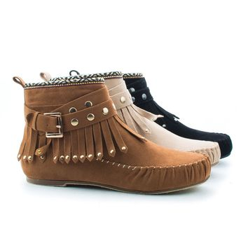 Kalisa63 Black By Wild Diva, Round Toe Studded Ankle Wrap Fringe Tribal Moccasin Flat Booties