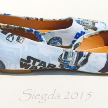 R2D2-Star Wars-Blue Women's flats-Custom Heels-Geek-Wedding shoes-Gift for her-Comic Con-Cosplay-Personalized Heels-