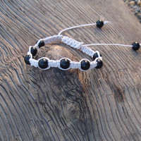 White Hemp Beaded Bracelet Adjustable Shamballa Bracelet