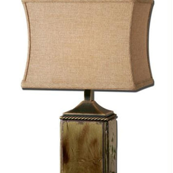 Buffet Table Lamp - Distressed Porcelain Base With Moss Green Glaze And Bronze Metal Detailing