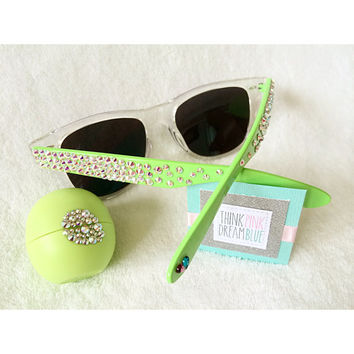 A set of 1 Crystallized EOS Lip Balm & 1 Crystallized pair of Sunglasses