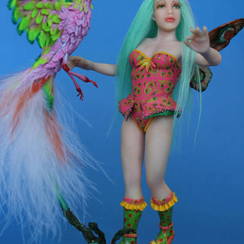 OOAK doll fairy and bird ~Nell and bird~, polymer clay dolls, by Diana Genova