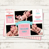 Birth Announcement Card - 3 Photo - Pink and Teal - Vintage Look - Introduce your baby to all your friends and family - Custom, personalized