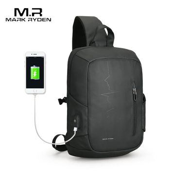 Mark Ryden 2018 New USB Charging Sling Bag Large Capacity Oxford Crossbody Bag for men  Shoulder Bag Water Resistant Chest Pack