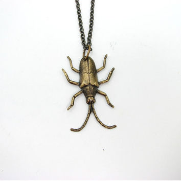 beetle bug necklace - halloween jewelry / entomology