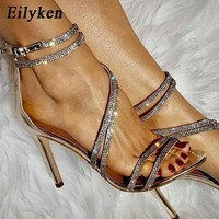 Eilyken 2019 New Gold Bling Crystal Sexy Women Sandals High Heels Gladiator Sandals Wedding Party Woman Zapatos mujer