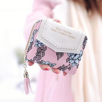 Vintage Women Floral Small Wallet Sweet Female Purses Bifold Flower Carteira Feminia Tassel Purse For Gift
