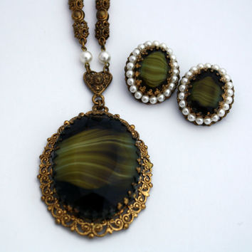 Vintage Western Germany Necklace and Earring Set, Green Marbled Stone & Faux Pearls