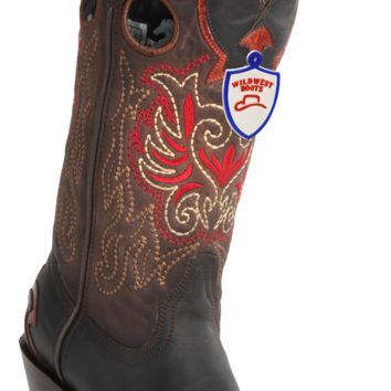 Wild West Womens Caiman Boots Square Toe Brown,Black & Cognac