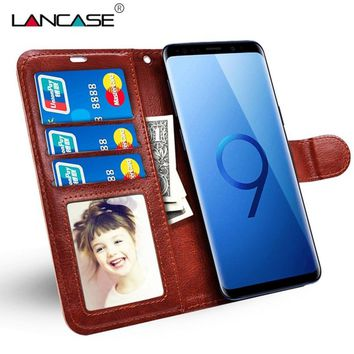 LANCASE Wallet Case for Samsung Galaxy S9 Case Luxury Leather Silicone Flip Card Slots Cover for Samsung S9 Plus S8 Phone Bag