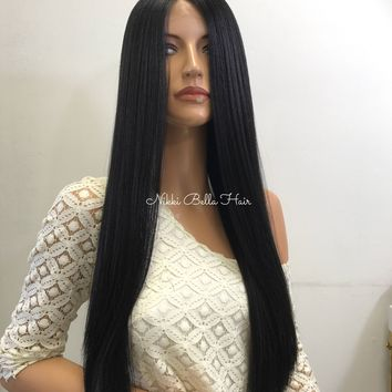 Black Silky Straight Human Hair Blend Deep Parting Lace Front Wig -  Keann 61017 6